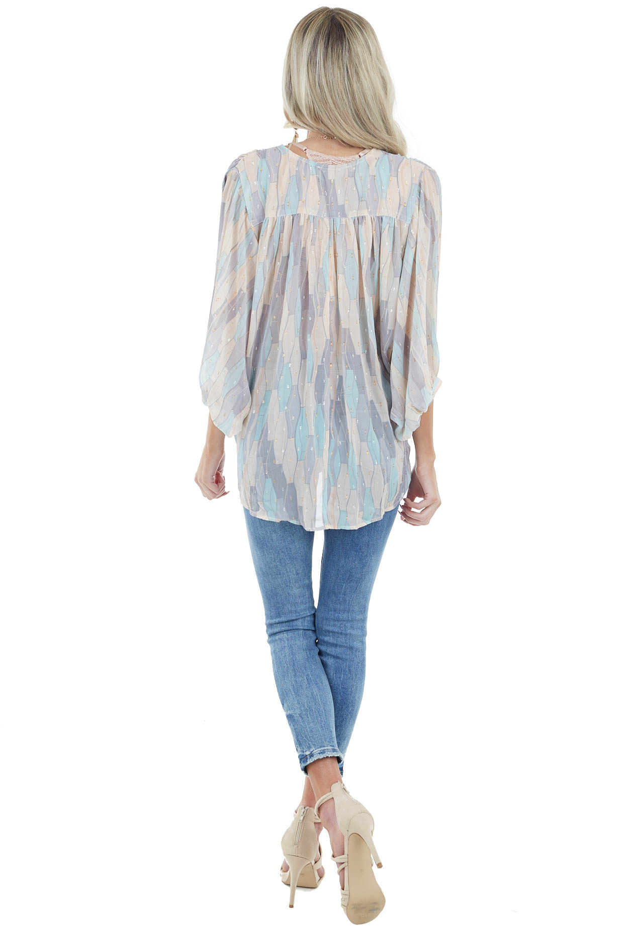 Cream Multicolor Geometric Surplice Top with 3/4 Sleeves