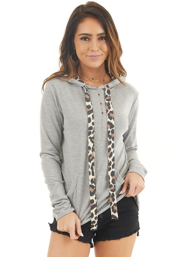 Heather Grey Hoodie with Leopard Print Contrast and Pocket front close up