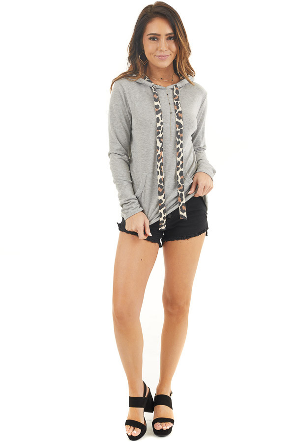 Heather Grey Hoodie with Leopard Print Contrast and Pocket front full body