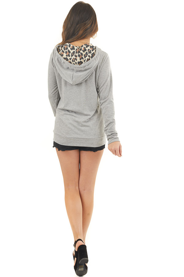 Heather Grey Hoodie with Leopard Print Contrast and Pocket back full body