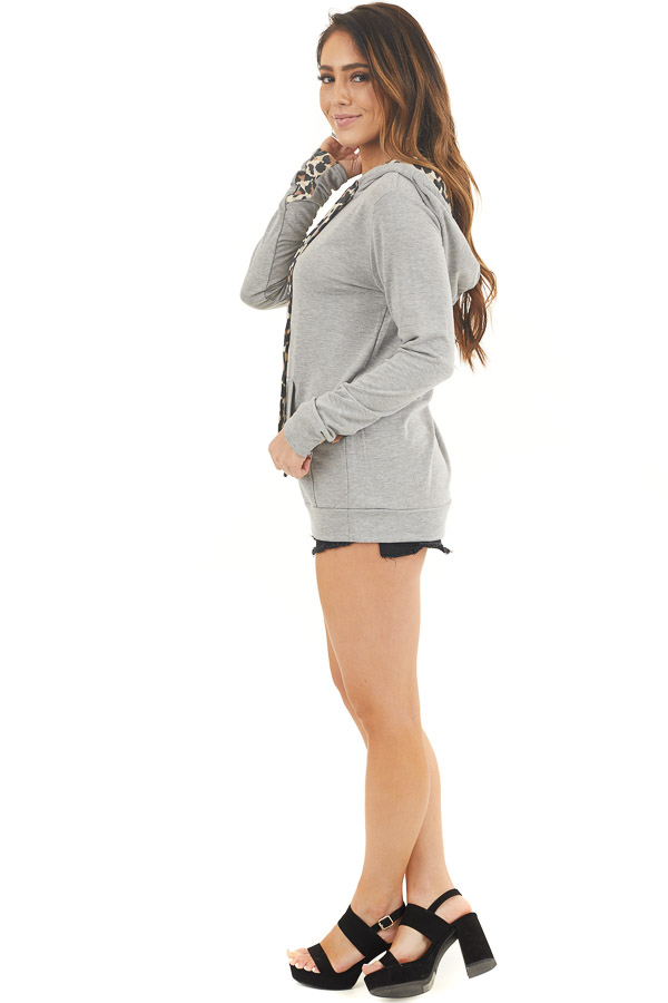 Heather Grey Hoodie with Leopard Print Contrast and Pocket side full body