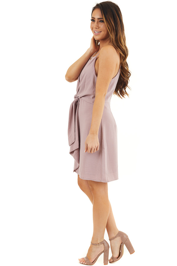 Mauve Spaghetti Strap Dress with Front Tie Detail side full body