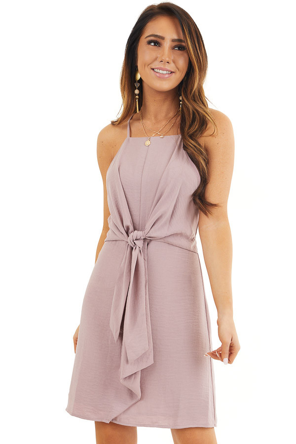 Mauve Spaghetti Strap Dress with Front Tie Detail front close up