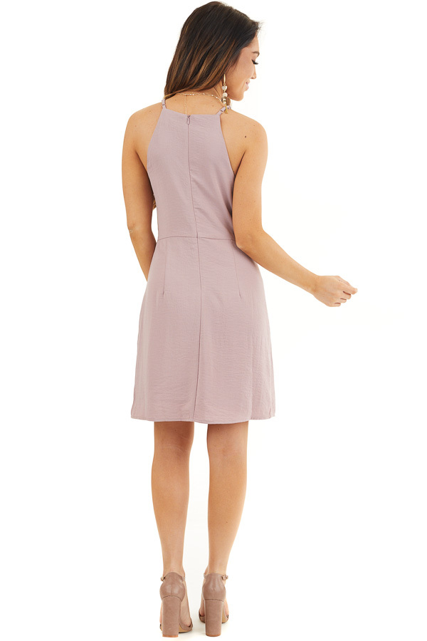 Mauve Spaghetti Strap Dress with Front Tie Detail back full body