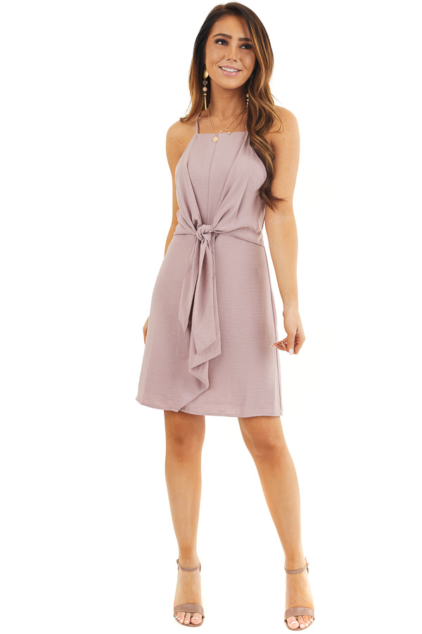 Mauve Spaghetti Strap Dress with Front Tie Detail front full body