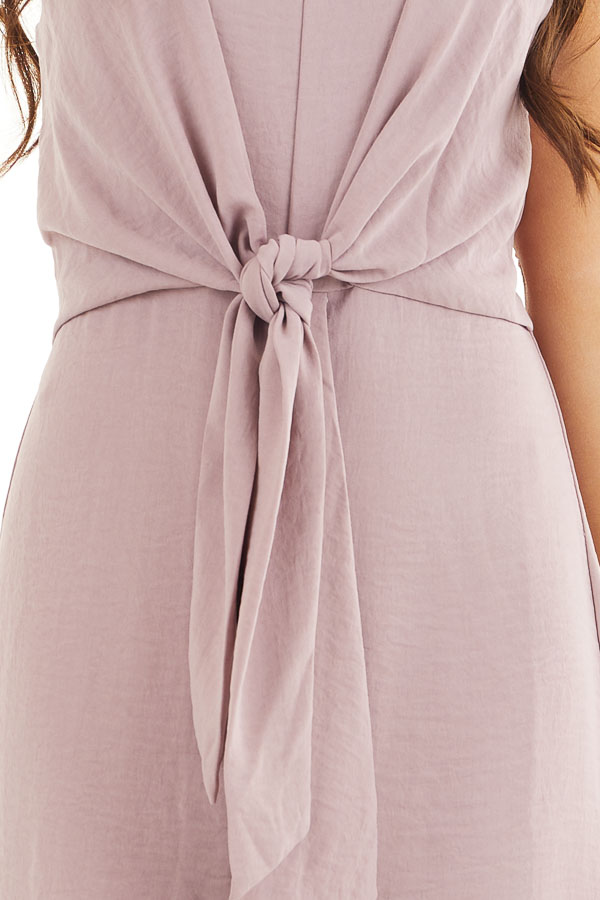 Mauve Spaghetti Strap Dress with Front Tie Detail detail