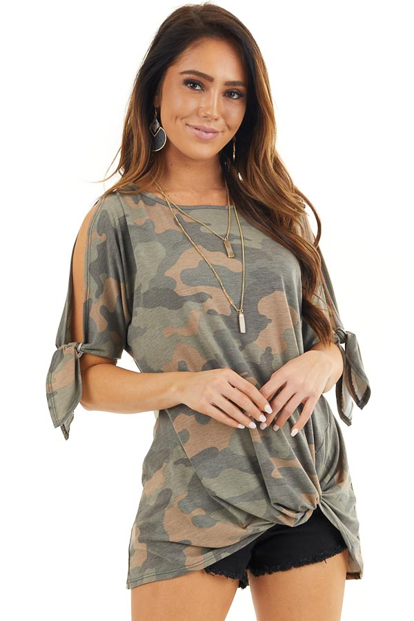 Olive Camo Print Top with Cold Shoulders and Front Twist front close up