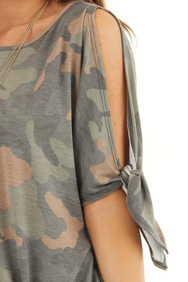 Olive Camo Print Top with Cold Shoulders and Front Twist detail