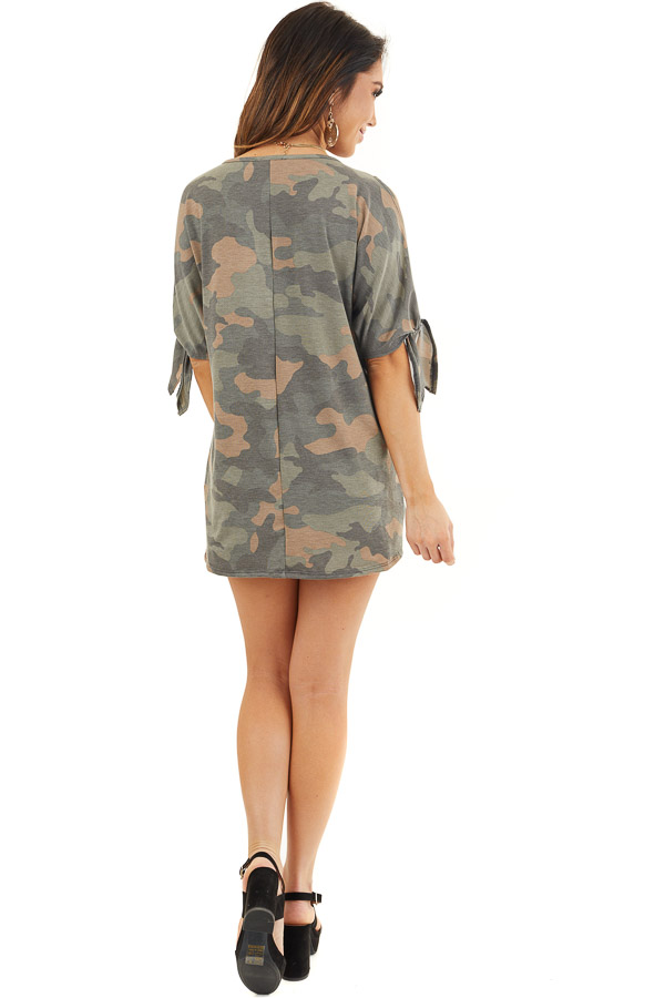 Olive Camo Print Top with Cold Shoulders and Front Twist back full body