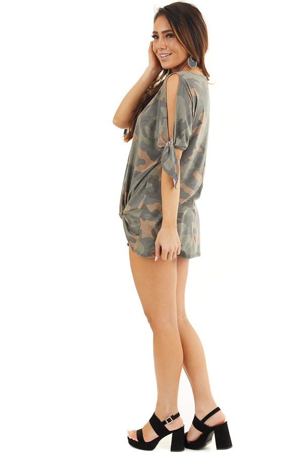 Olive Camo Print Top with Cold Shoulders and Front Twist side full body