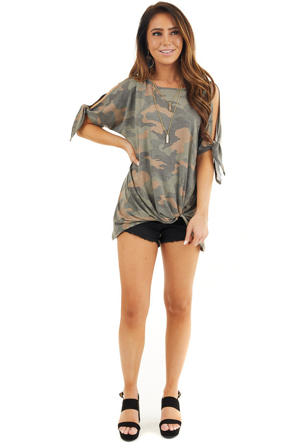Olive Camo Print Top with Cold Shoulders and Front Twist front full body