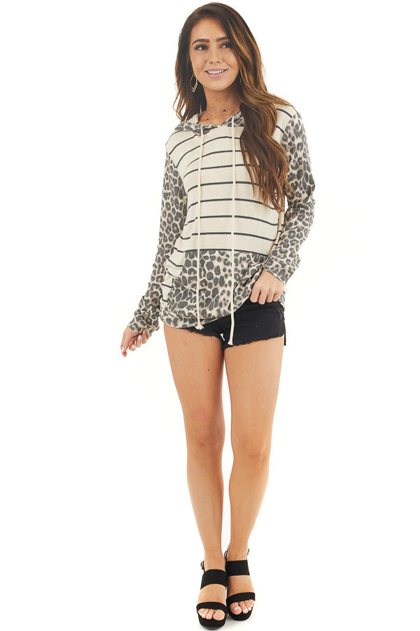 Cream Multiprint Long Sleeve Hooded Top with Kangaroo Pocket front full body