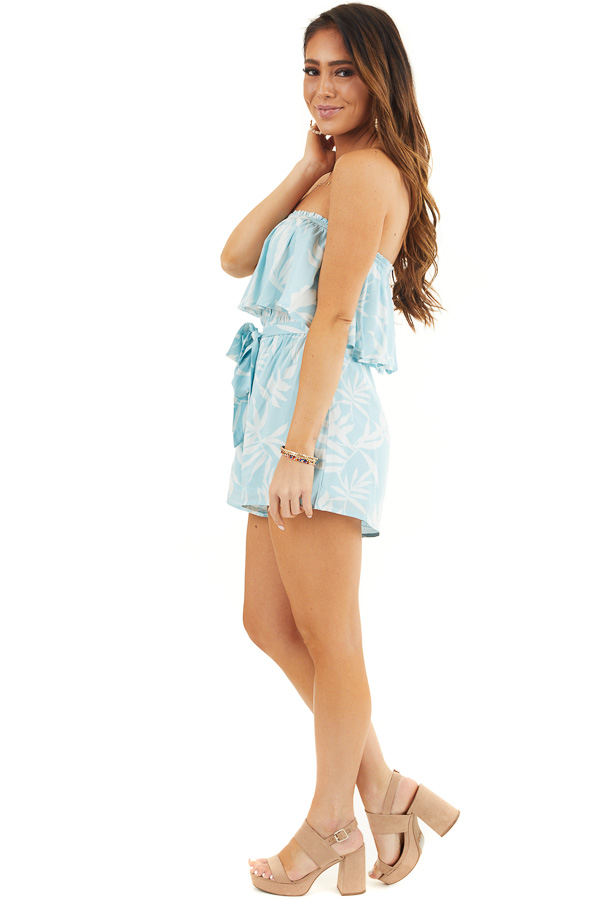 Baby Blue and Off White Tropical Print Strapless Romper side full body