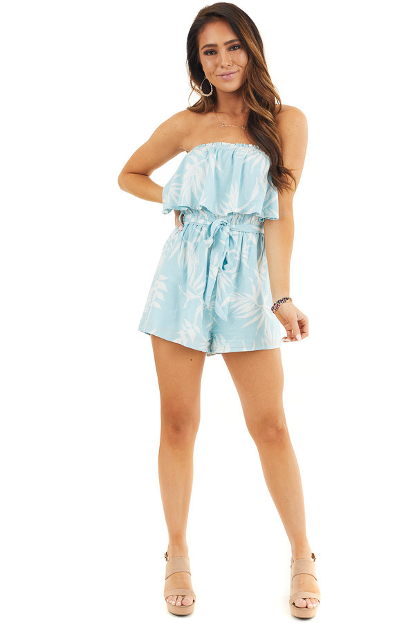 Baby Blue and Off White Tropical Print Strapless Romper front full body