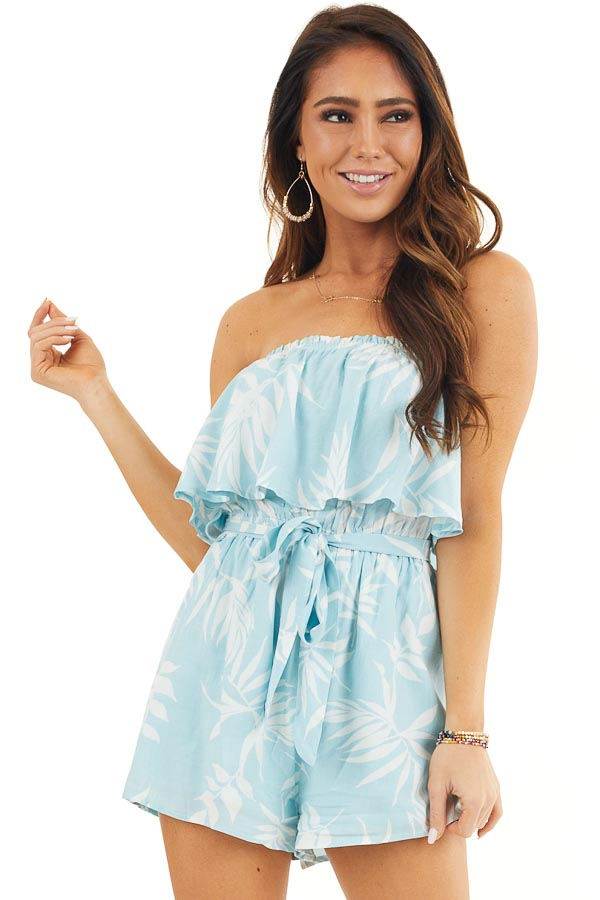 Baby Blue and Off White Tropical Print Strapless Romper front close up