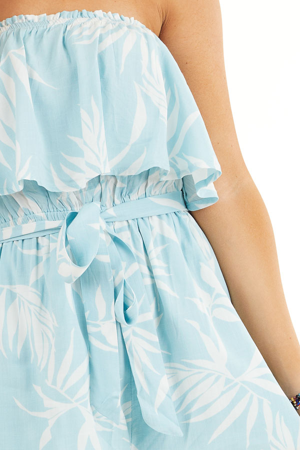 Baby Blue and Off White Tropical Print Strapless Romper detail