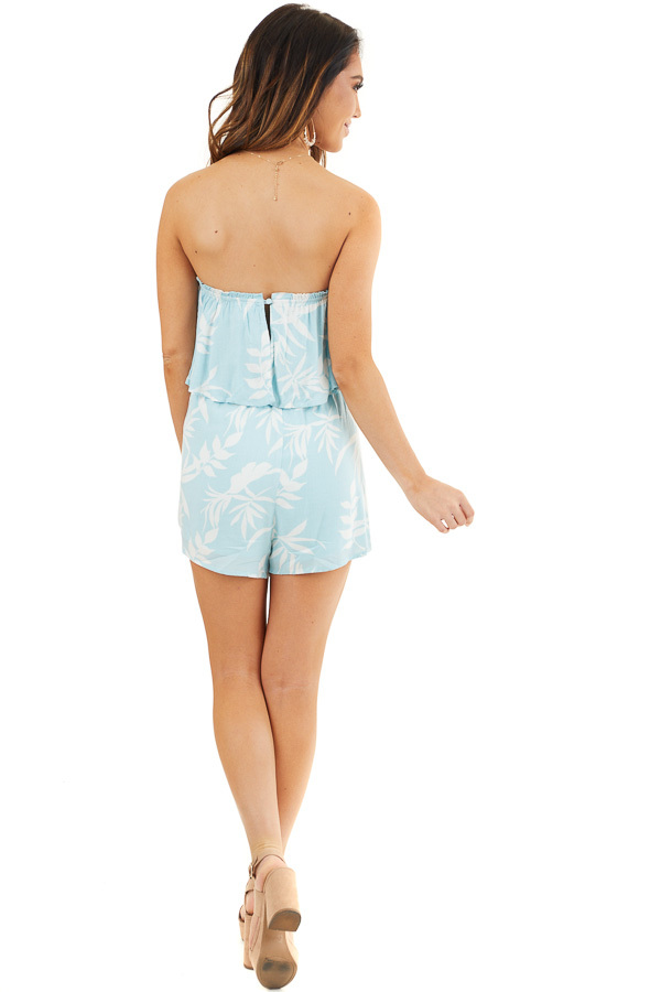 Baby Blue and Off White Tropical Print Strapless Romper back full body