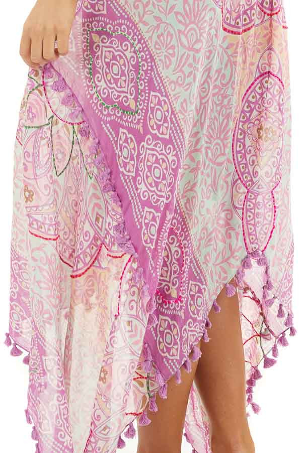 Orchid Printed Maxi Length Swimsuit Cover Up with Tassels detail