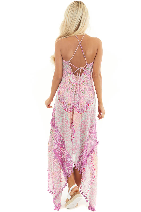Orchid Printed Maxi Length Swimsuit Cover Up with Tassels back full body