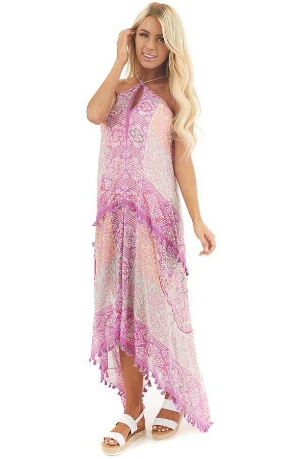 Orchid Printed Maxi Length Swimsuit Cover Up with Tassels front full body