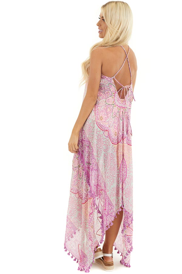 Orchid Printed Maxi Length Swimsuit Cover Up with Tassels side full body