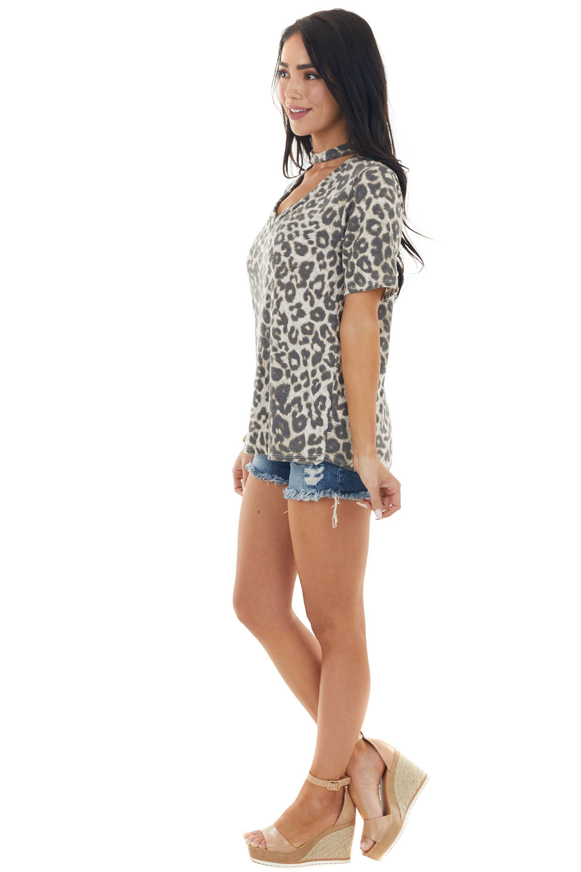 Ivory and Mocha Leopard Print V Neck Top with Choker Detail