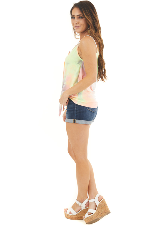 Multicolor Tie Dye Tank Top with Button Up Detail and Tie side full body