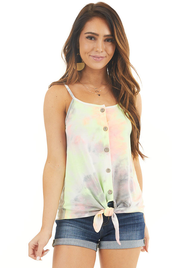 Multicolor Tie Dye Tank Top with Button Up Detail and Tie front close up
