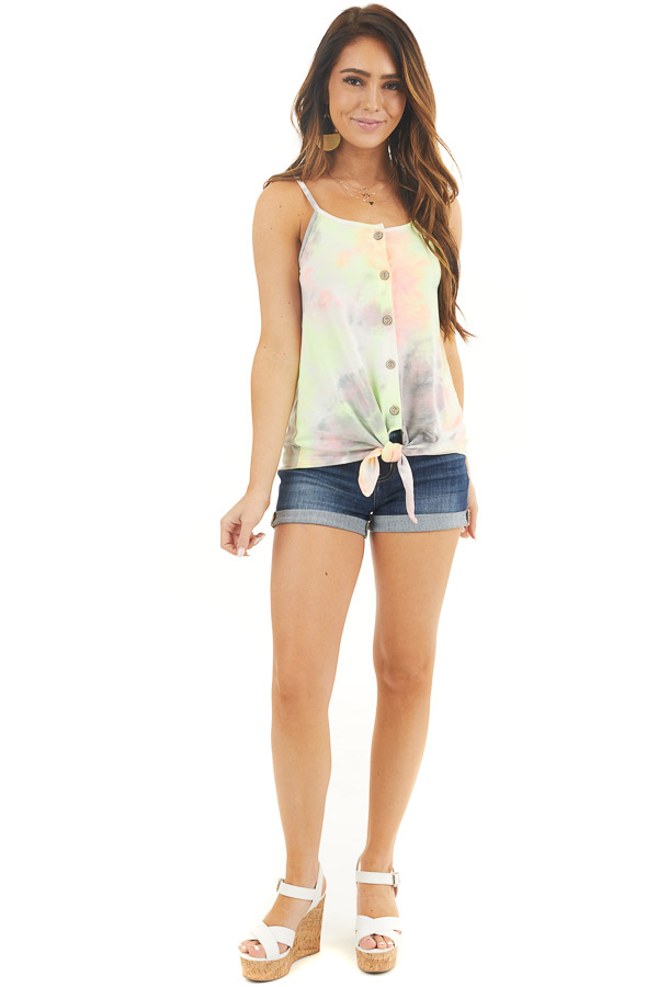 Multicolor Tie Dye Tank Top with Button Up Detail and Tie front full body