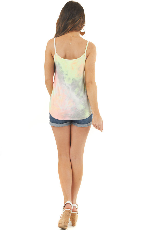 Multicolor Tie Dye Tank Top with Button Up Detail and Tie back full body