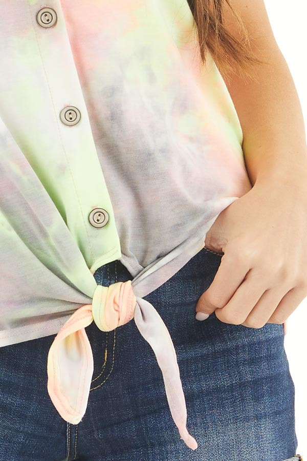 Multicolor Tie Dye Tank Top with Button Up Detail and Tie detail