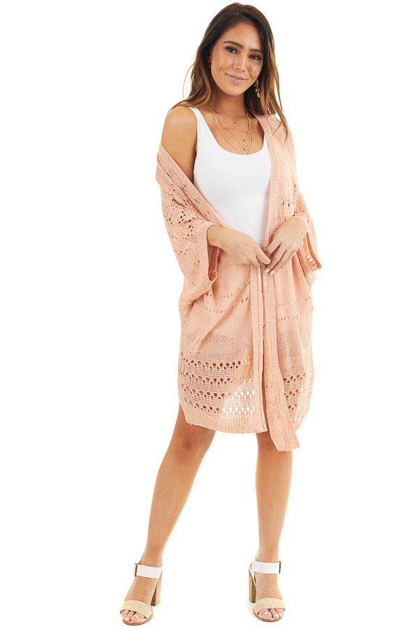 Peach Open Front Lightweight Cardigan with 3/4 Sleeves front full body