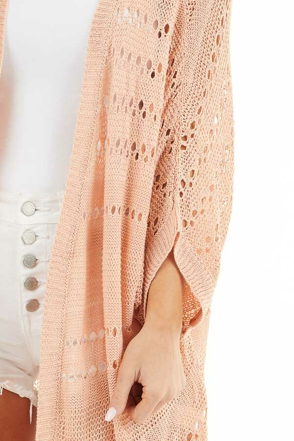 Peach Open Front Lightweight Cardigan with 3/4 Sleeves detail