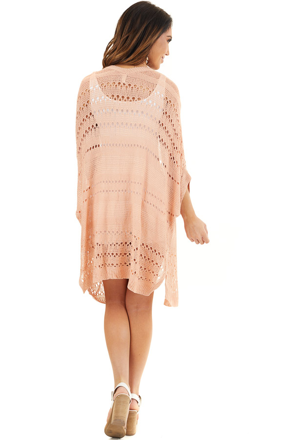 Peach Open Front Lightweight Cardigan with 3/4 Sleeves back full body