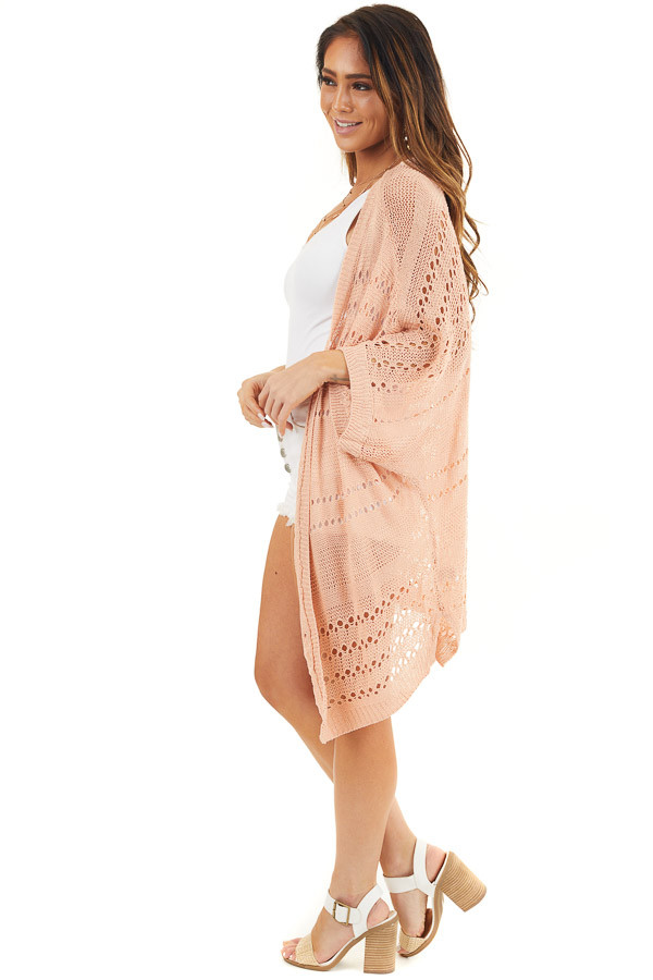 Peach Open Front Lightweight Cardigan with 3/4 Sleeves side full body