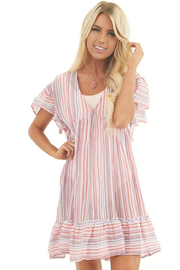 Pink Multicolor Striped Swimsuit Cover Up Dress with Ruffles front close up