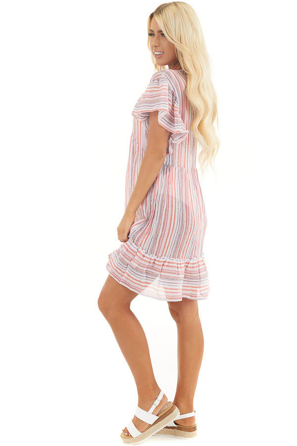 Pink Multicolor Striped Swimsuit Cover Up Dress with Ruffles side full body