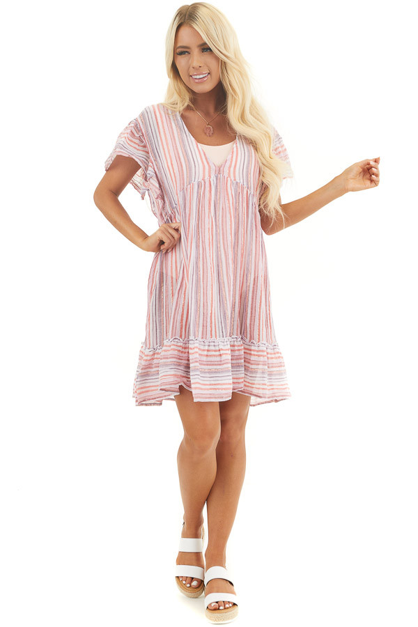 Pink Multicolor Striped Swimsuit Cover Up Dress with Ruffles front full body