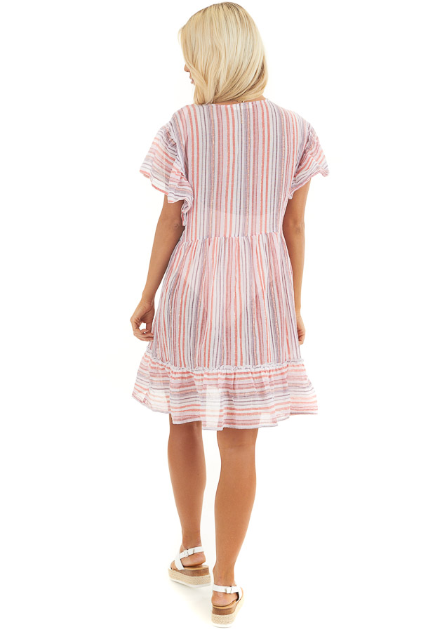 Pink Multicolor Striped Swimsuit Cover Up Dress with Ruffles back full body