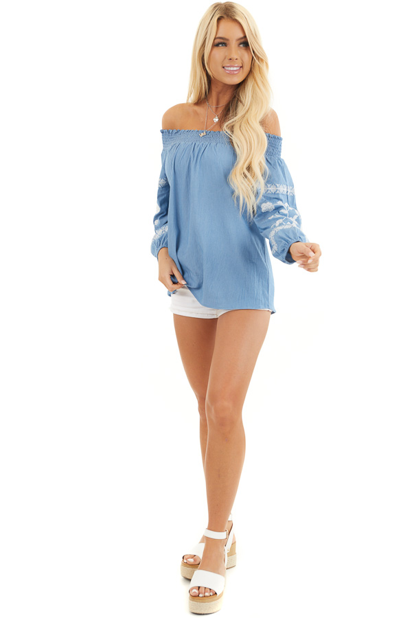Denim Blue Off the Shoulder Chambray Top with Embroidery front full body