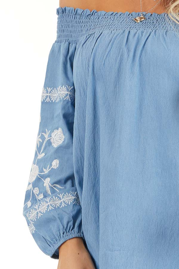 Denim Blue Off the Shoulder Chambray Top with Embroidery detail