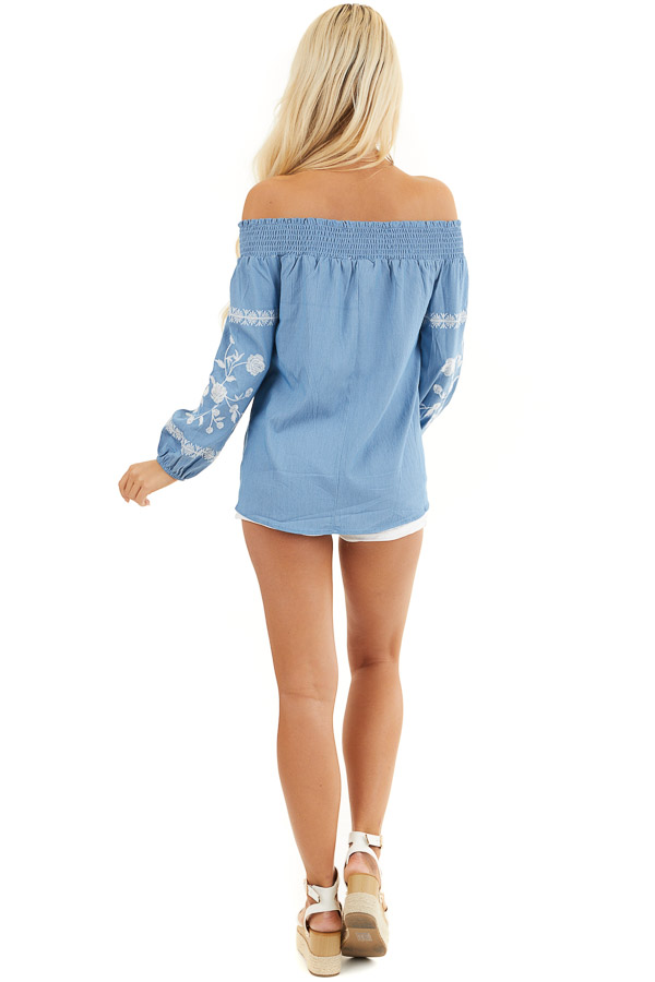 Denim Blue Off the Shoulder Chambray Top with Embroidery back full body