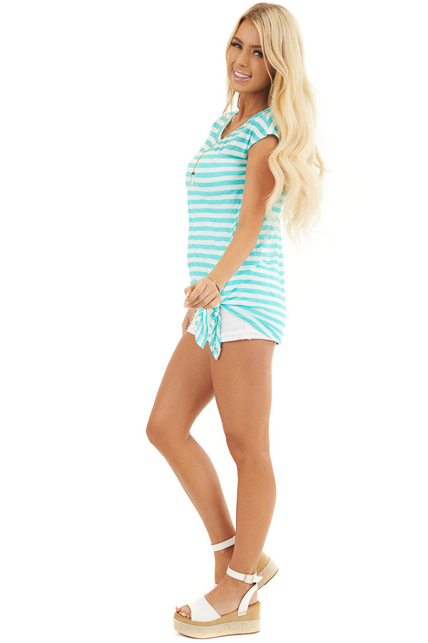 Dark Mint and Off White Striped Knit Top with Side Tie side full body