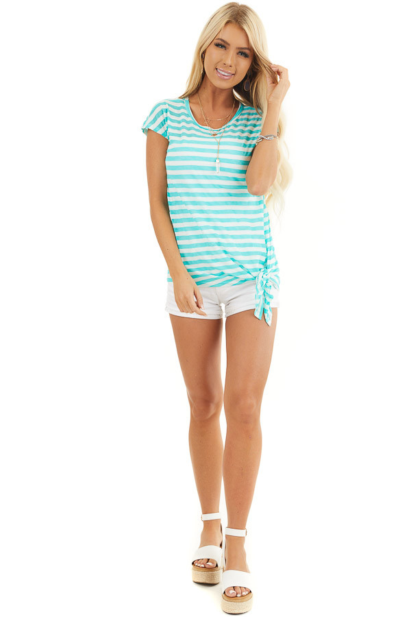 Dark Mint and Off White Striped Knit Top with Side Tie front full body