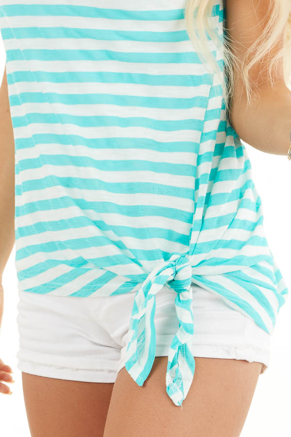 Dark Mint and Off White Striped Knit Top with Side Tie detail