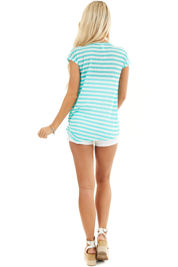 Dark Mint and Off White Striped Knit Top with Side Tie back full body