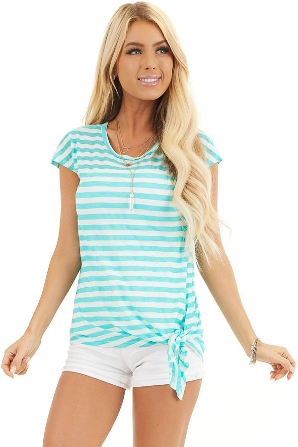 Dark Mint and Off White Striped Knit Top with Side Tie front close up