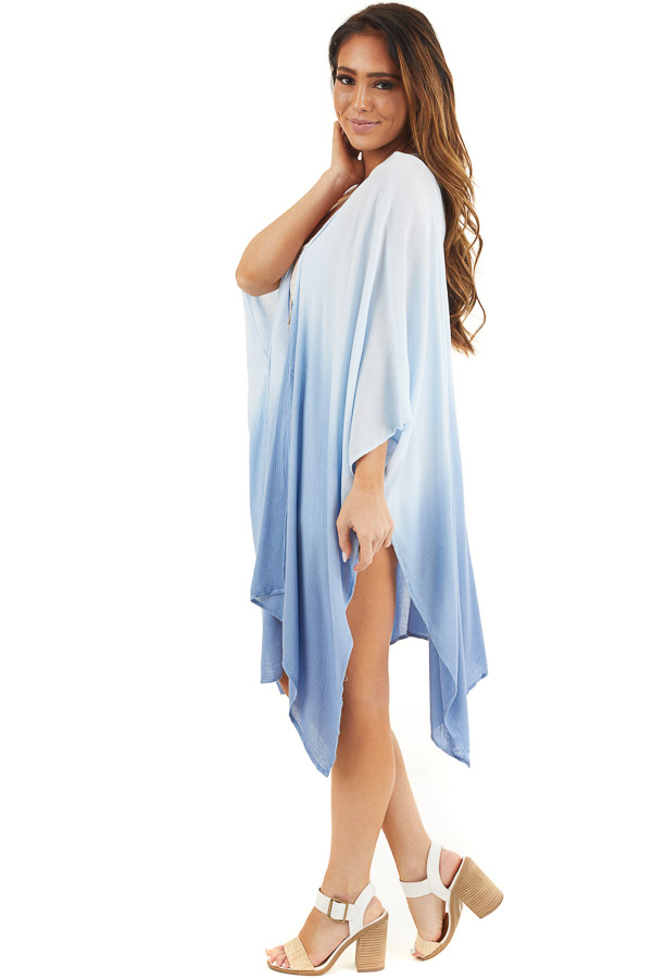 Baby Blue Ombre Open Front Kimono with Large Side Slits side full body