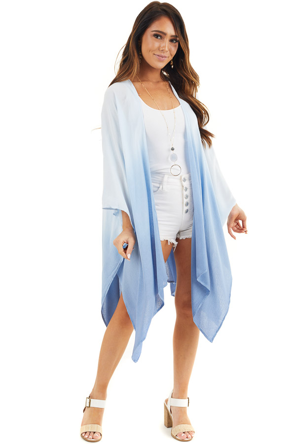 Baby Blue Ombre Open Front Kimono with Large Side Slits front full body