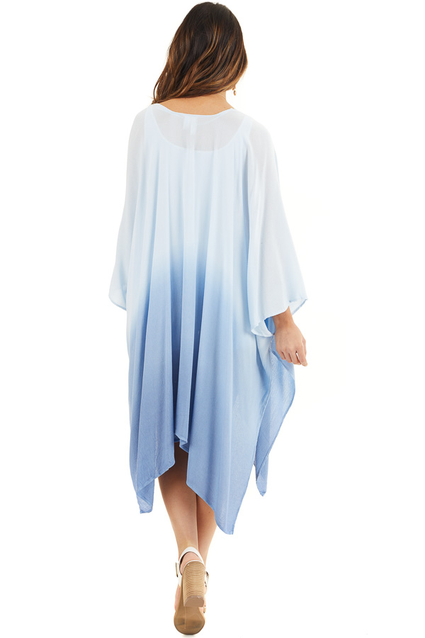Baby Blue Ombre Open Front Kimono with Large Side Slits back full body